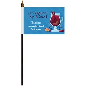 Single Reverse Polyester Stick Flags
